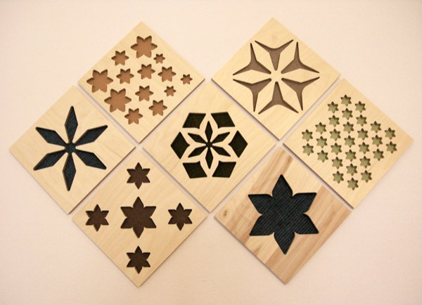 Decorative wooden tiles