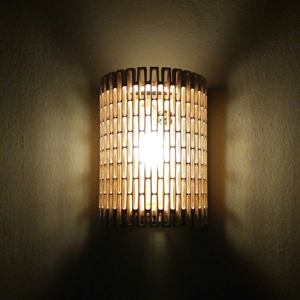 Wall lamp from flexible wood